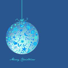 tarjeta de navidad azul con bola
