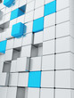abstract smooth grey and blue metallic cubes