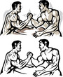 Stylized men arm wrestling.