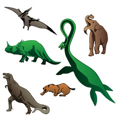 isolated dinosaurs vector illustration