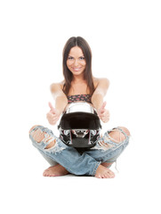 Lucky girl poses with helmet on white