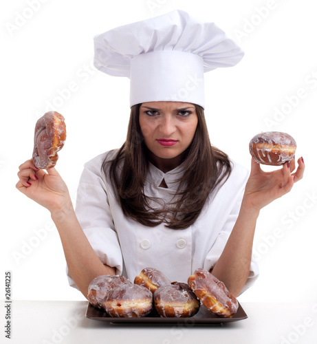 estimating cake female chef with doughnuts