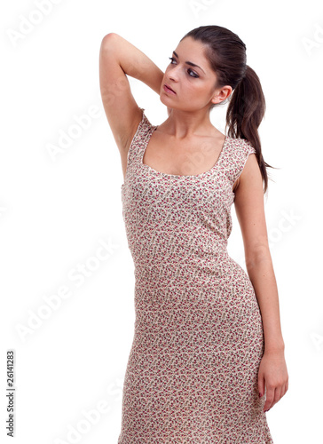 young posing woman with raised arm