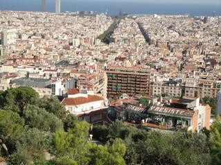Blick auf das Häusermeer der Stadt Barcelona, Spanien
