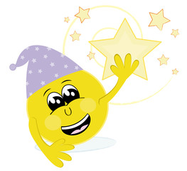 Happy emoticon holding a star