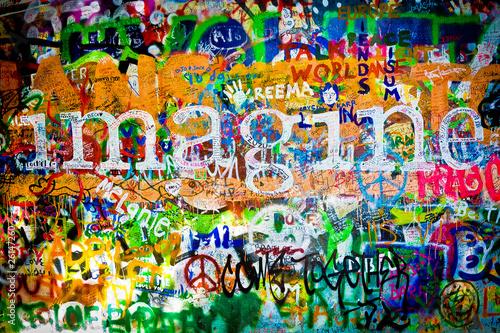 Plexiglas Praag Muro de John Lennon (Praga) - Imagine (Toma 1)