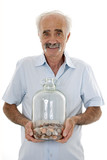 Man holding money jar
