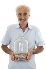 Man holding money jar