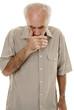 Senior man coughing