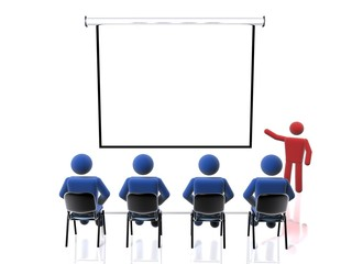 3D figure giving a presentation