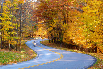 Biker wit a bit of motion blur on a curvy road in autumn