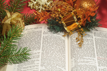 Christmas text from the Bible with festive decorations