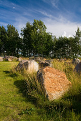 Large stones on meadow