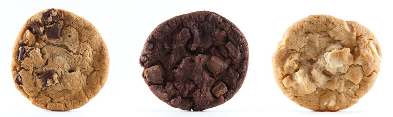 Three different types of cookies against an isolated background