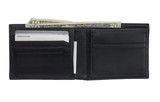 Open leather wallet with money and cards