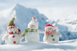 Happy snowmans in mountain - 26166286