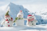 Happy snowmans in mountain - Fine Art prints