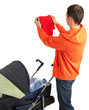 young father with baby pram (stroller)