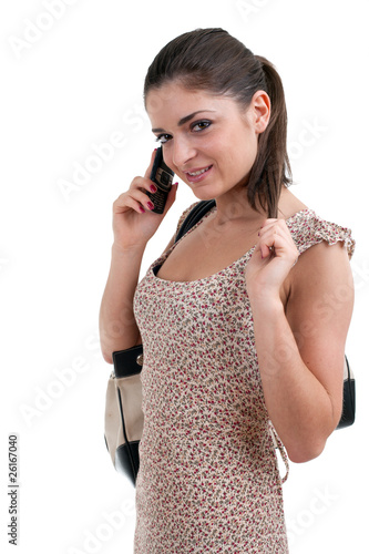 successful woman speaks by a mobile phone