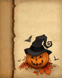 Halloween greeting card with pumpkin