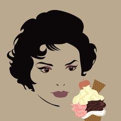 illustration femme avec glace