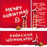 Fototapety Santa sprüht Weihnachtsgrüße in mehreren Sprachen - Vektor AI 10