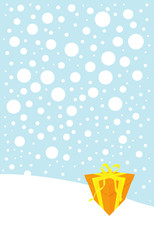 Christmas illustration of orange gift box lying in the snow