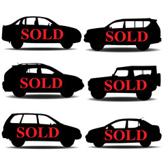 Sold car silhouette.Vector