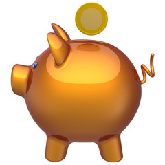Piggy bank with a coin over it. The right-side view (Hi-Res)