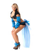 go-go girl in beautiful bright costume isolated