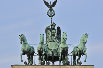 Quadriga chariot drawn driven by the goddess of victory Victoria