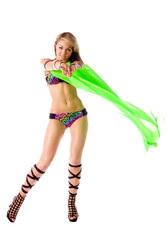 beautiful dancer girl with green wings isolated
