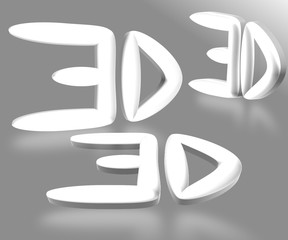 3d text gray background
