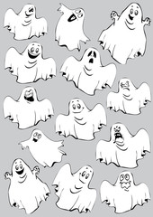Ghosts. Halloween night. Vector art-illustration.