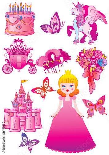 Foto op Canvas Kasteel Fairy princess collection. Vector art-illustration.