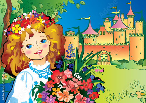 Foto op Aluminium Kasteel Beautiful girl with flowers. Vector art-illustration.