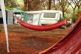 Camping,rain on hammock and tent poster