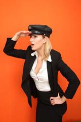 Frau mit Kappe