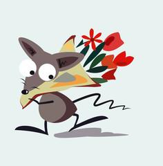 Мышь с букетом бежит на свидание