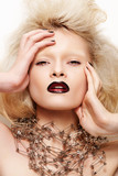 Fashion looking. Model with dark lips and without eyebrows poster