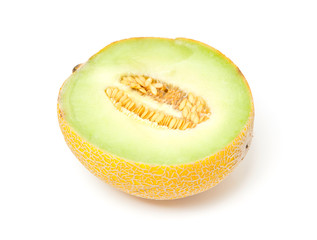 half yellow melon over white background