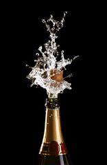 shotting cork champagne bottle