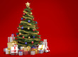 Christmas tree on red background with copy space