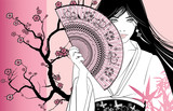 geisha on a pink floral background