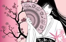 Gejsza na różowym tle kwiatów