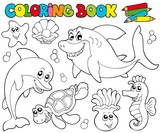 Coloring book with marine animals 2