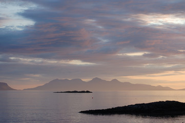Rum late evening from Arisaig