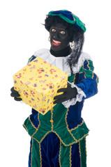 Zwarte Piet giving a present