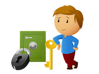 Boy rest with key and locked safe on background