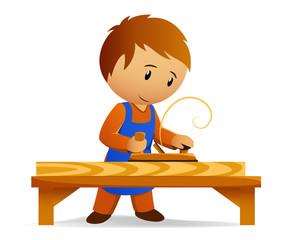 Cartoon carpenter rasp the board
